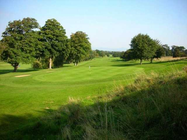 View of the hole from green to tee at Abergele GC