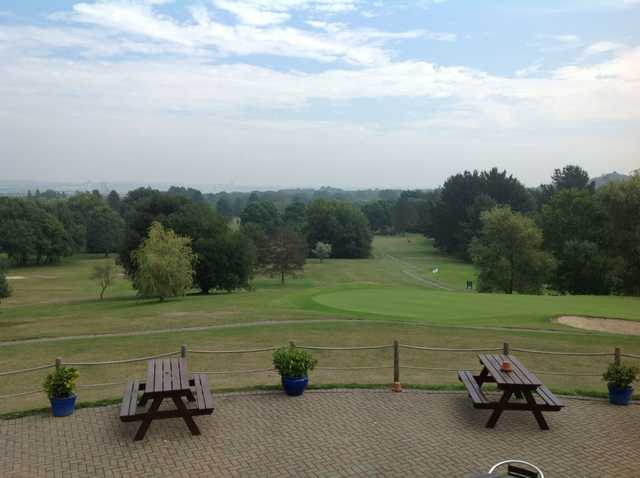 The view from the clubhouse over the course at Dibden Golf Centre.