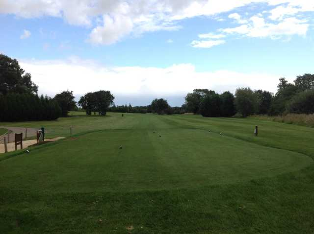 View from the 1st tee down the fairway at South Cerney Golf Club