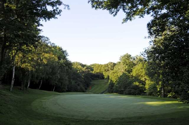 Scenic view of the 7th hole back over the green to the tee at Shirley Park Golf Club