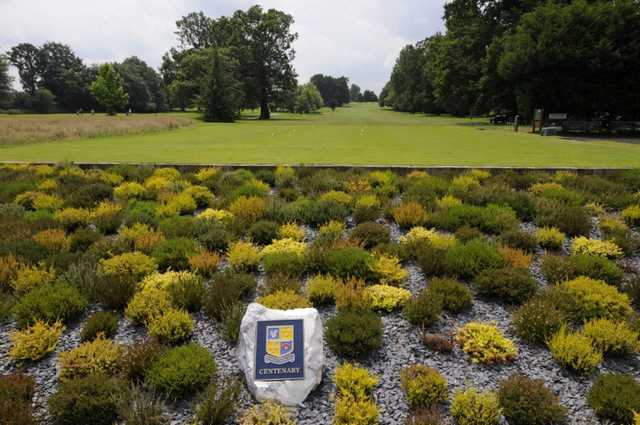 Beautiful view of the 1st hole and Centenary Flowerbed Stone at Shirley Park Golf Club