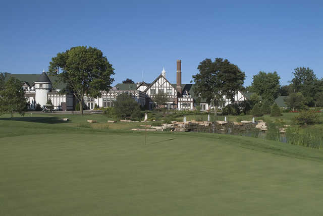 View of the 8th green and clubhouse from Chevy Chase Country Club