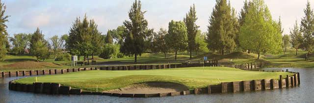 View of an island green at Bartley Cavanaugh Golf Course