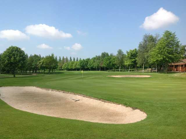 Greenside bunkers awaiting errant approach shots at Calderfields Golf & Country Club