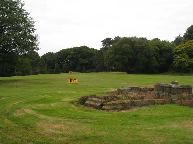The practice area 100 mark at Vale Royal Abbey Golf Club