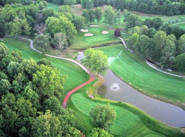 Aerial view of greens and fairways at Hawthorne Valley Golf Club