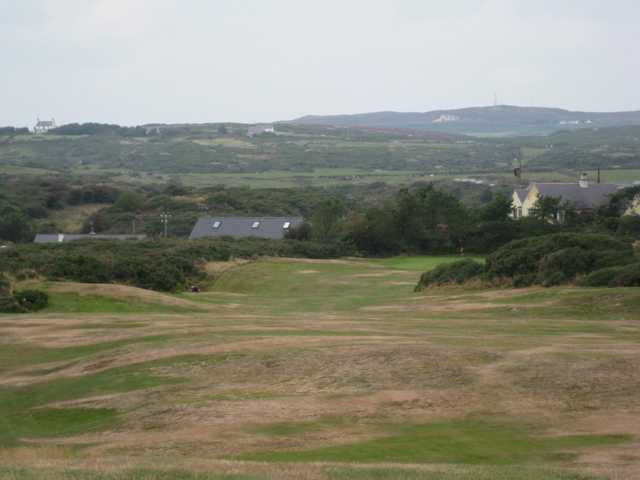 10th hole overlooking the countryside at Holyhead Golf Club