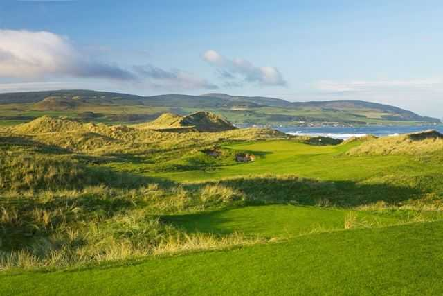 Stunning views out to the ocean from 14th hole at Machrihanish Dunes