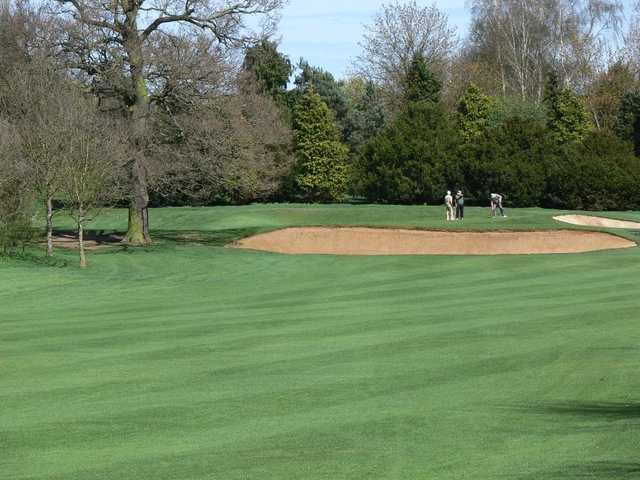 View of bunker and greens at Letchworth Golf Club