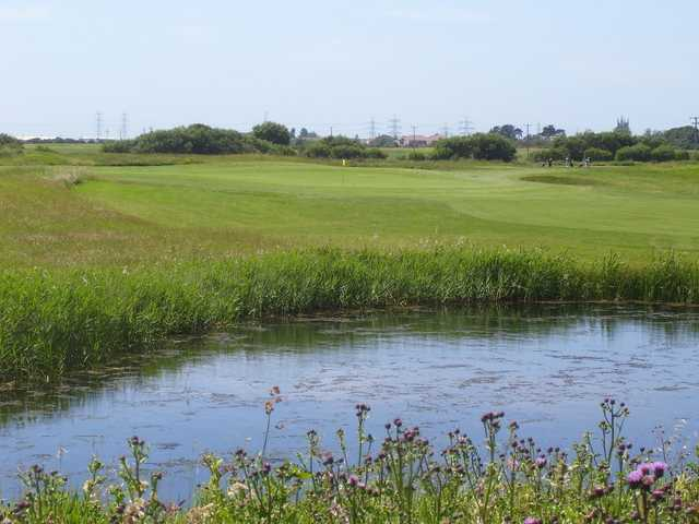 The lake at Lydd Golf Club provides an ominous water hazard to avoid