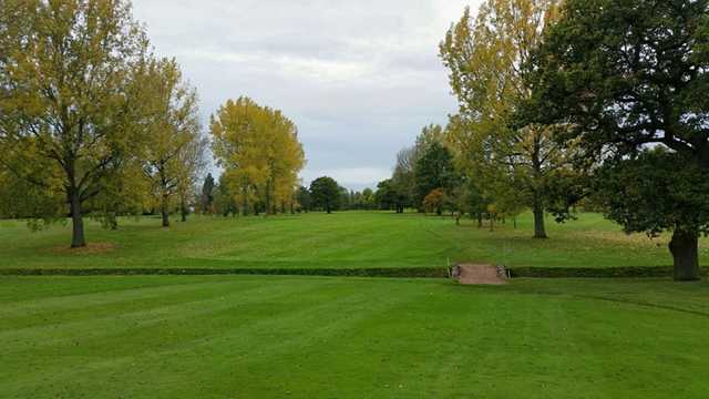 The challenging 14th fairway across a ditch at Vicars Cross Golf Club