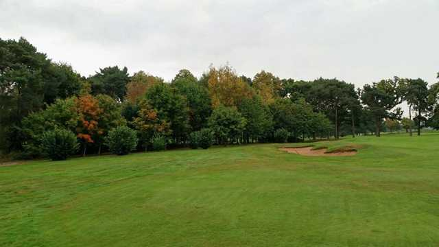 A scenic view of the 8th green at Vicars Cross Golf Club