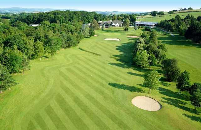 An overhead shot of the 18th green, Dainton Park Golf Course