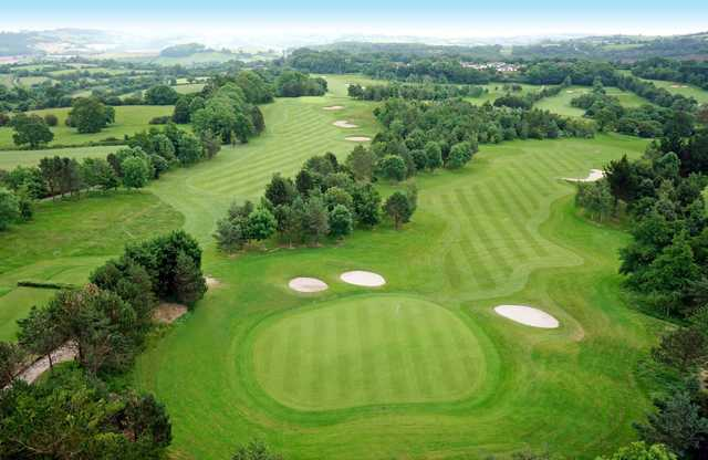 Looking down onto the 6th and 7th fairways at Dainton Park Golf Club
