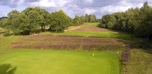 Magnificent fairway split with purple heather and grass on the 4th at Piltdown
