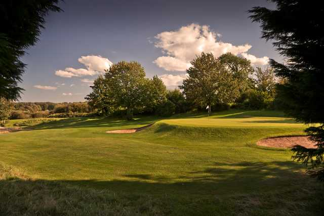 The raised 2nd green at Wenvoe Castle Golf Club