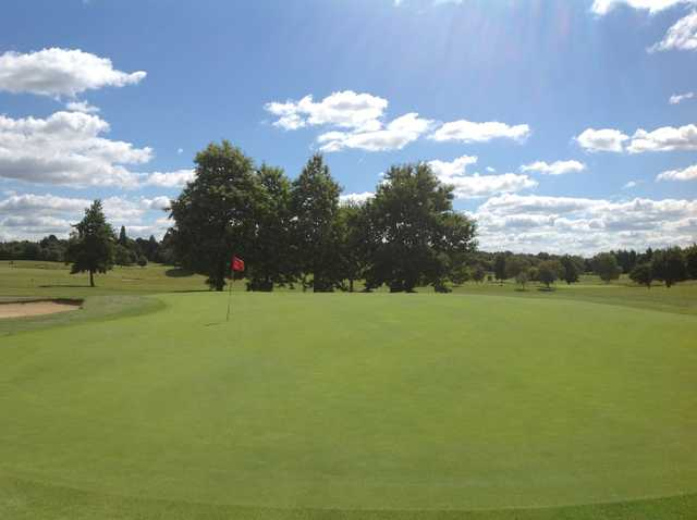 A view of the beautiful 2nd green at Hurtmore Golf Club
