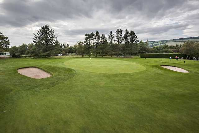 The approach to the 15th green at Alyth Golf Club