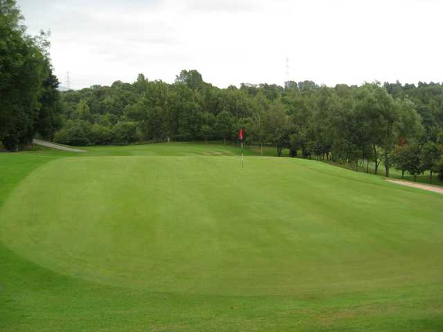 A view of the 18th green and medlock valley from the clubhouse balcony at Brookdale golf course