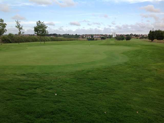 A scenic view of the 2nd green and fairway at Newcastle United Golf Club