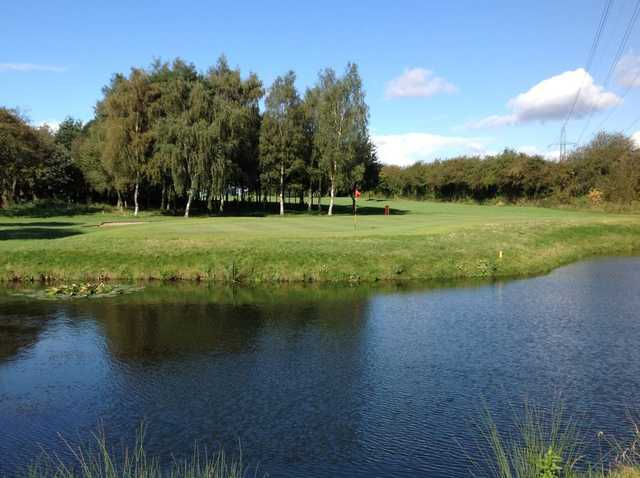 The 15th hole, par3 over water at the Wath Golf Club