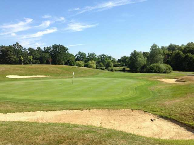 A view of the stunning 18th green at Chobham Golf Club