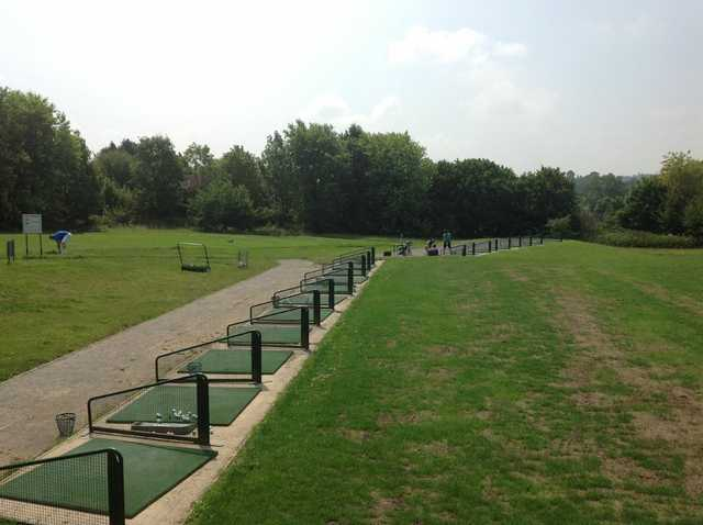 The driving range with multiple bays at Lindfield Golf Club