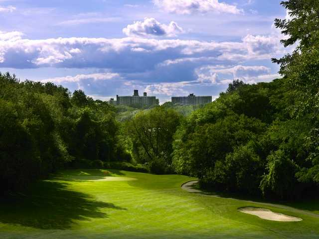 A view from the top of the downhill 16th par 4 at Van Cortlandt Park Golf Course