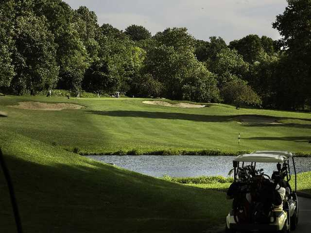 A view of the 6th hole over water (Par 4) at Van Cortlandt Park Golf Course