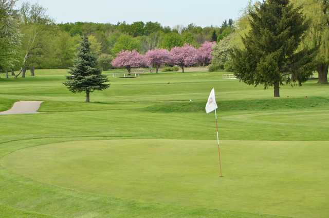 A spring view of a hole at Burlington Springs Golf Club
