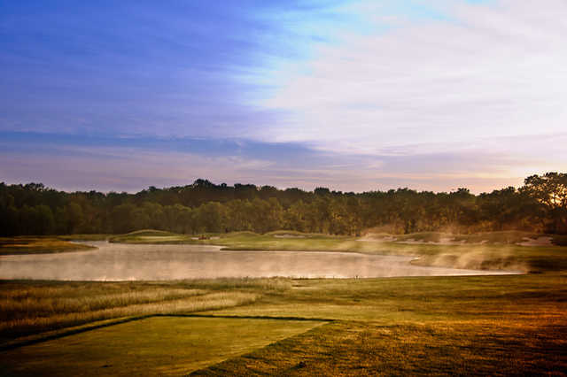 Sunset view of the 2nd hole at Purgatory Golf Club