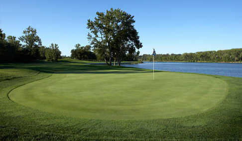 View of the signature hole - number 13 - at Shoreline Golf Course