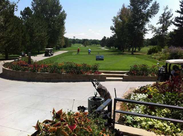 A sunny day view of a tee from Greg Mastriona Golf Courses at Hyland Hills