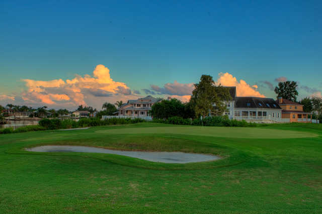 A view of a hole protected by bunkers at Apollo Beach Golf Club.
