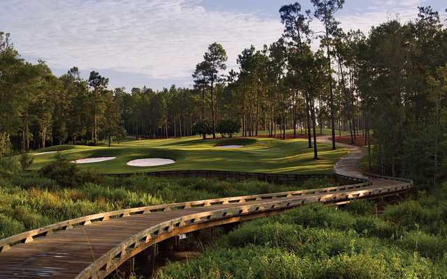 View of the 8th hole from the Crossings Course at Magnolia Grove Golf Club