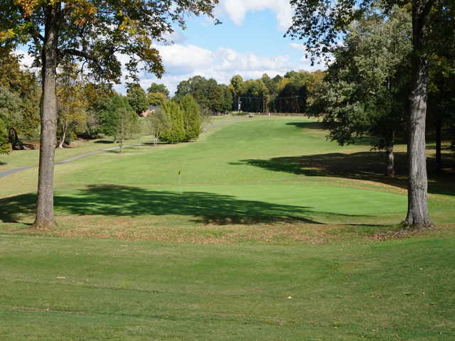 A view of the 6th hole at Reynolds Course from Tanglewood Golf Club