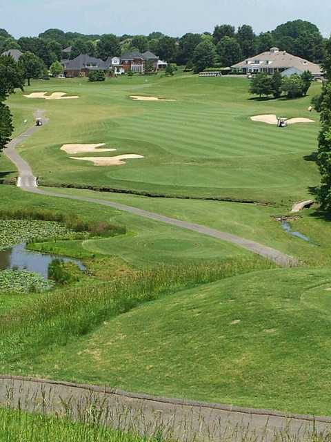 View of the 9th fairway and green at Oak Valley Golf Club