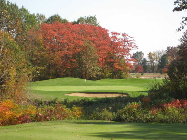 Autumn view of the 12th hole at Whittaker Woods Golf Club