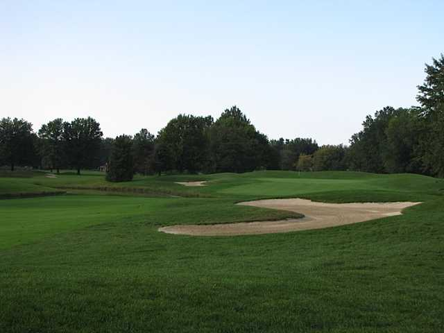 View of a bunkered green from the Legacy Course at Sweetbriar Golf & Pro Shop