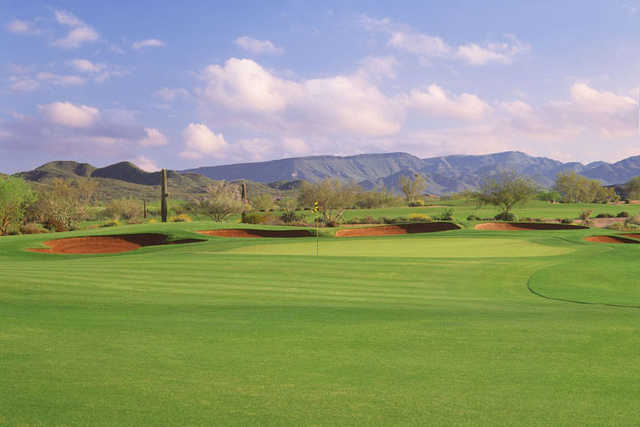 View of the par-4 18th hole at Dove Valley Ranch Golf Club