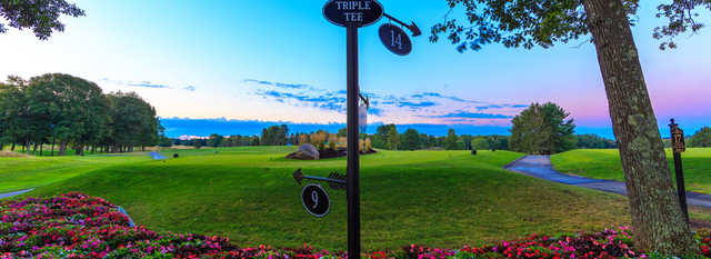 The triple tee 9,14,17 at Mohegan Sun Golf Club