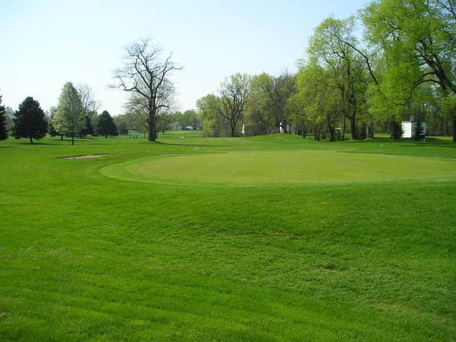 View of a green and fairway at Carroll County Country Club