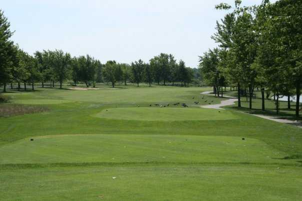 A view green #2 at Mystic Creek Golf Club - Lakes Course