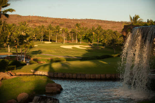 View of the waterfall and the 12th green at Ko Olina Golf Club