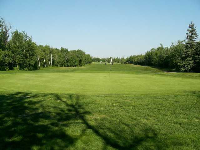 Looking back from a green at Raven Crest Golf and Country Club