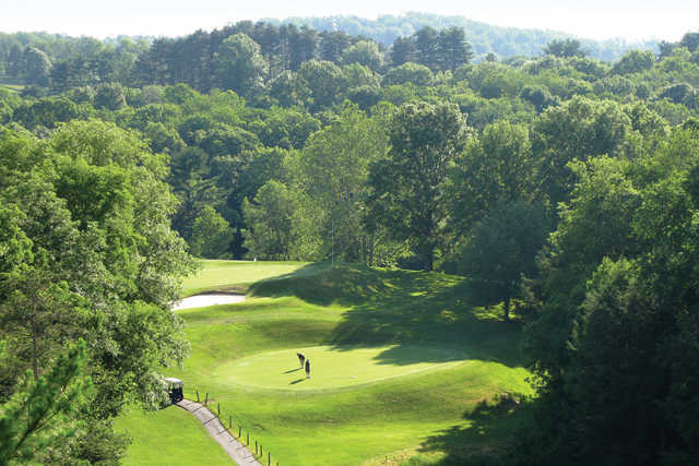A view of two greens at Crispin Course from Oglebay Resort