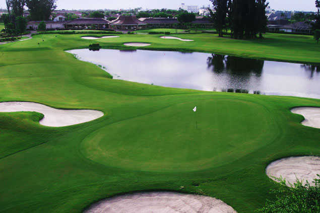 View of a bunkered green at Atlantis Country Club