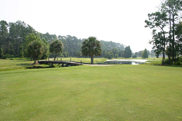 Water come into play on several holes at Baytree Golf Course