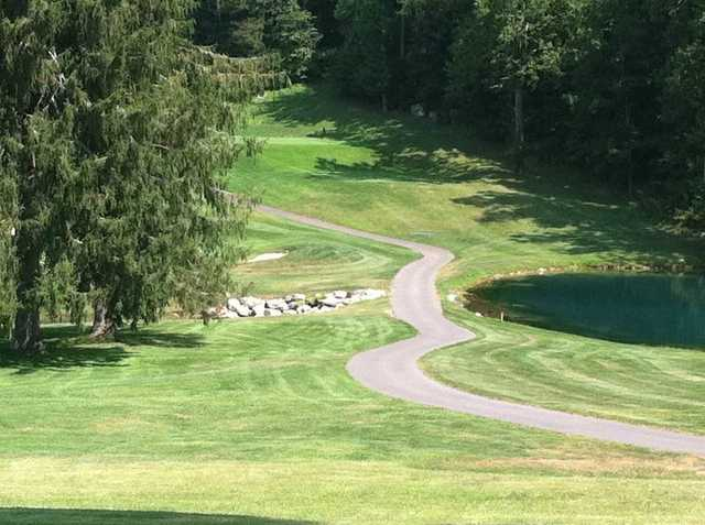 A sunny day view from Cascades Golf Course at The Homestead Resort