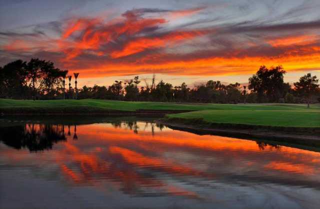 A splendid sunset over the 2nd green at Gold Course from Wigwam Resort
